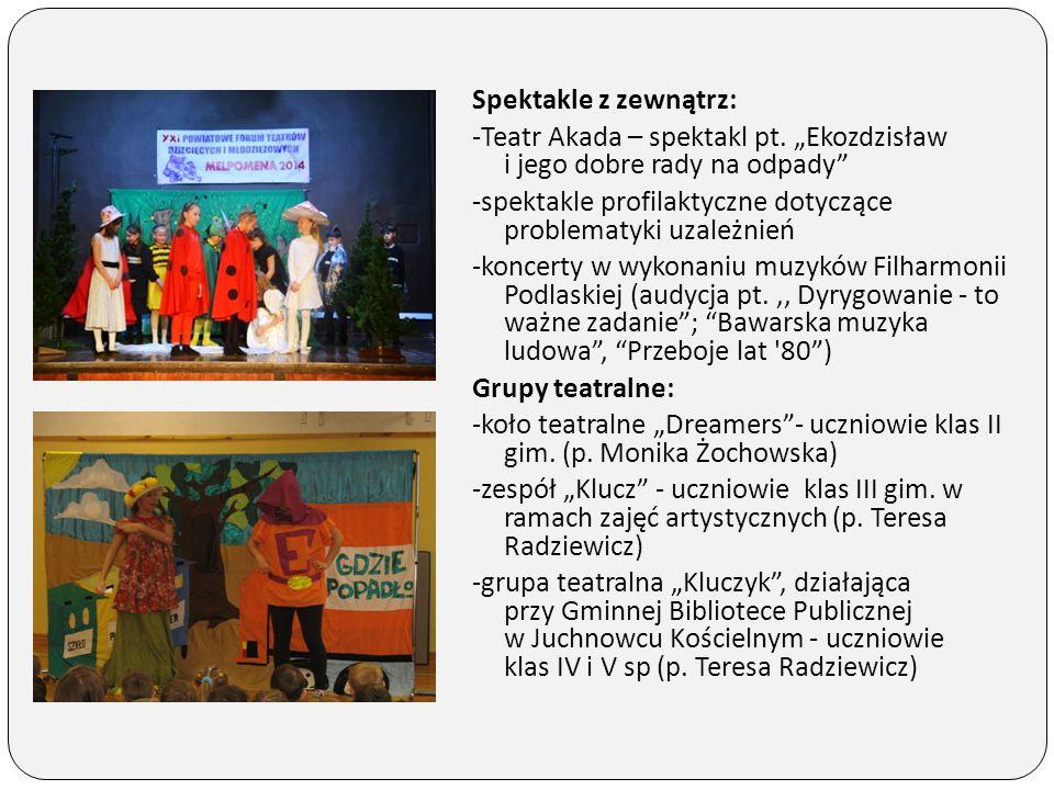 """Spektakle z zewnątrz: -Teatr Akada – spektakl pt. """"Ekozdzisław i jego dobre rady na odpady"""