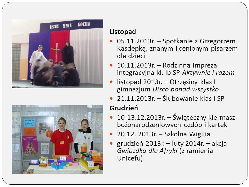 Listopad 05.11.2013r. – Spotkanie z Grzegorzem Kasdepką, znanym i cenionym pisarzem dla dzieci.