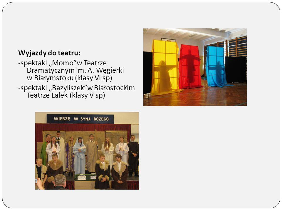 """Wyjazdy do teatru: -spektakl """"Momo w Teatrze Dramatycznym im. A. Węgierki w Białymstoku (klasy VI sp)"""