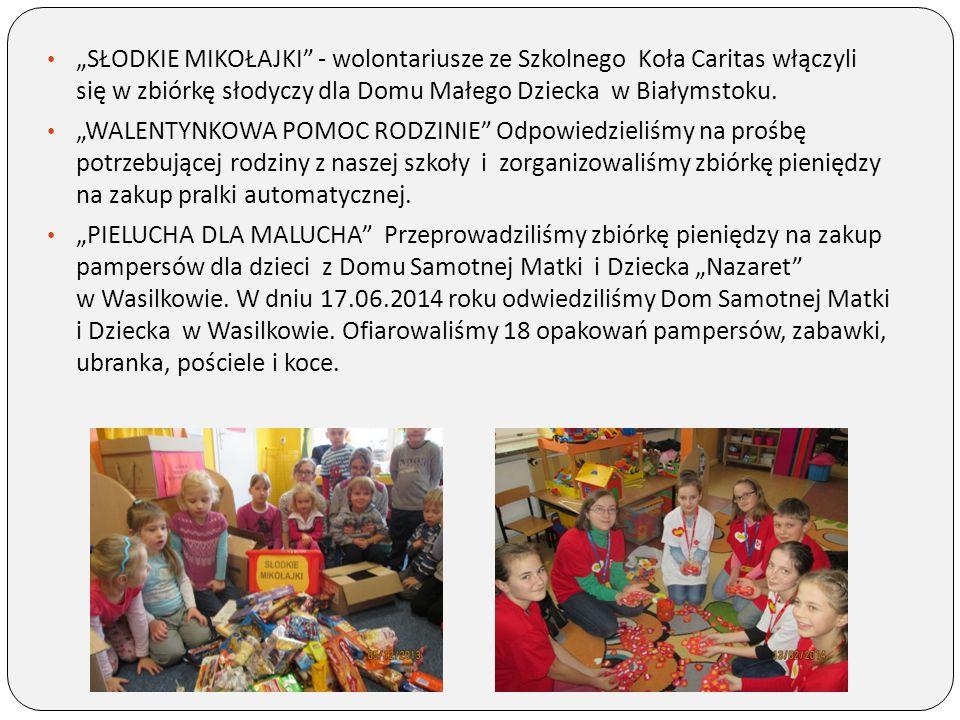 """""""SŁODKIE MIKOŁAJKI - wolontariusze ze Szkolnego Koła Caritas włączyli się w zbiórkę słodyczy dla Domu Małego Dziecka w Białymstoku."""
