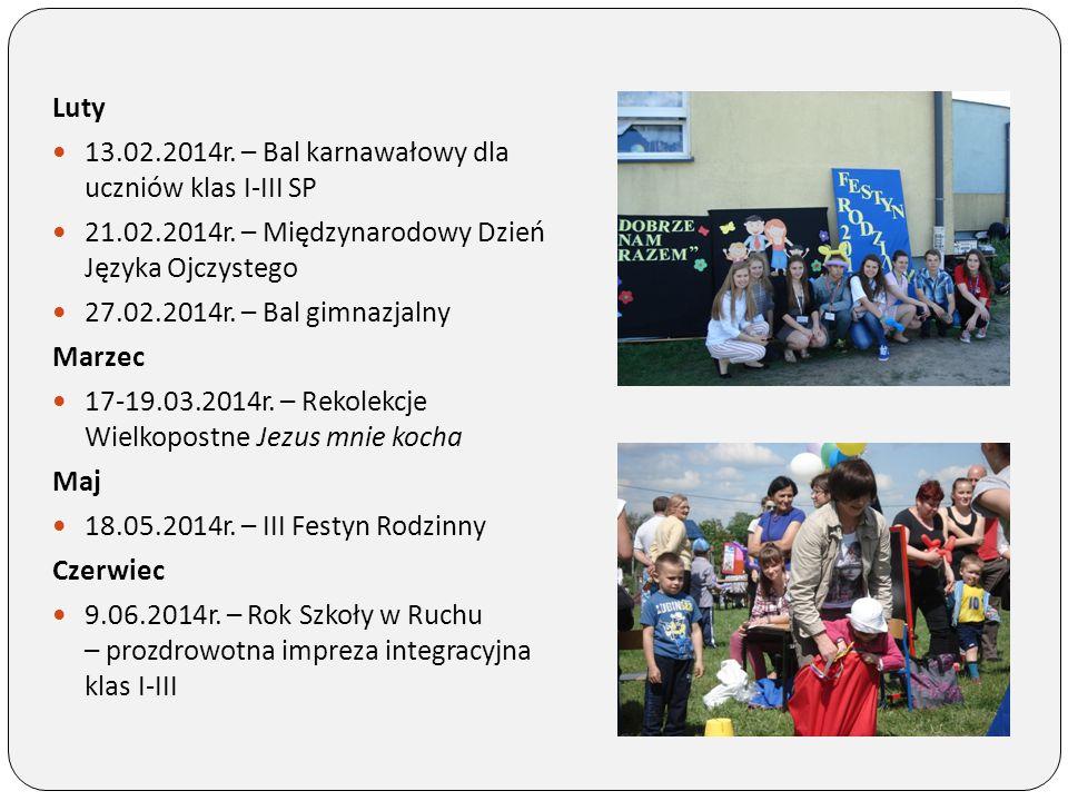Luty 13.02.2014r. – Bal karnawałowy dla uczniów klas I-III SP. 21.02.2014r. – Międzynarodowy Dzień Języka Ojczystego.