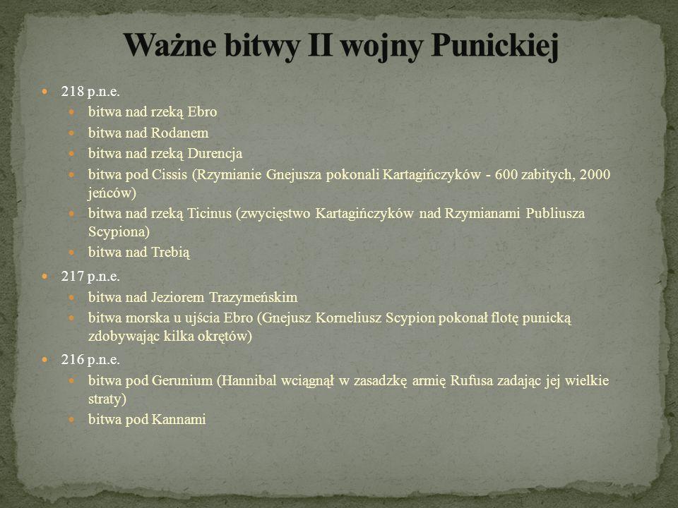 Ważne bitwy II wojny Punickiej