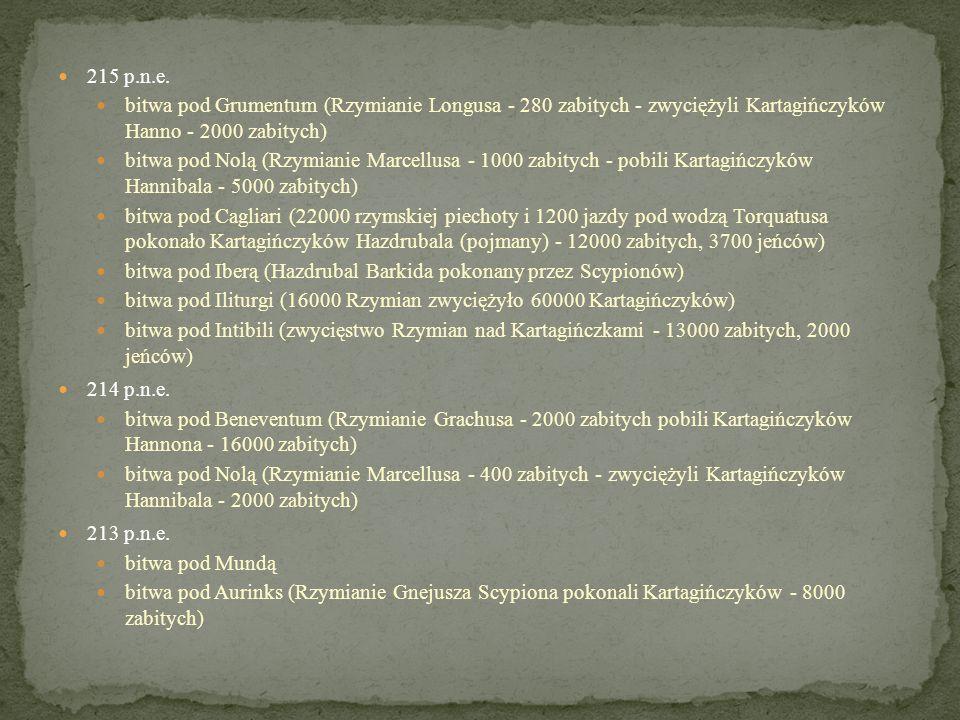 215 p.n.e. bitwa pod Grumentum (Rzymianie Longusa - 280 zabitych - zwyciężyli Kartagińczyków Hanno - 2000 zabitych)