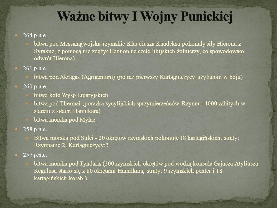 Ważne bitwy I Wojny Punickiej