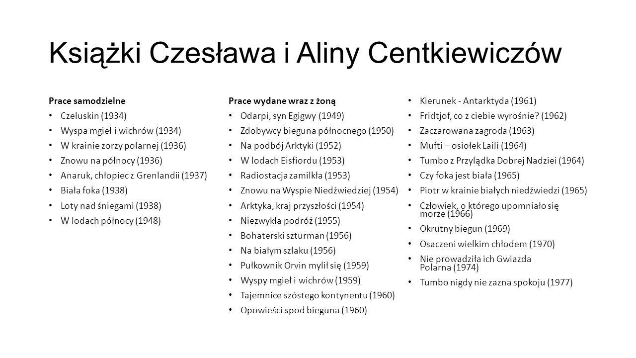 Książki Czesława i Aliny Centkiewiczów