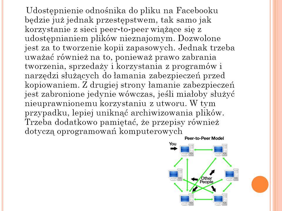 Udostępnienie odnośnika do pliku na Facebooku będzie już jednak przestępstwem, tak samo jak korzystanie z sieci peer-to-peer wiążące się z udostępnianiem plików nieznajomym.