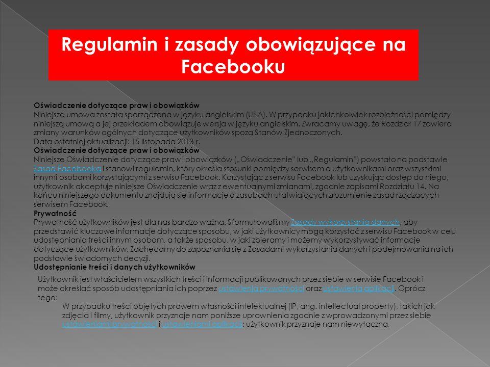 Regulamin i zasady obowiązujące na Facebooku