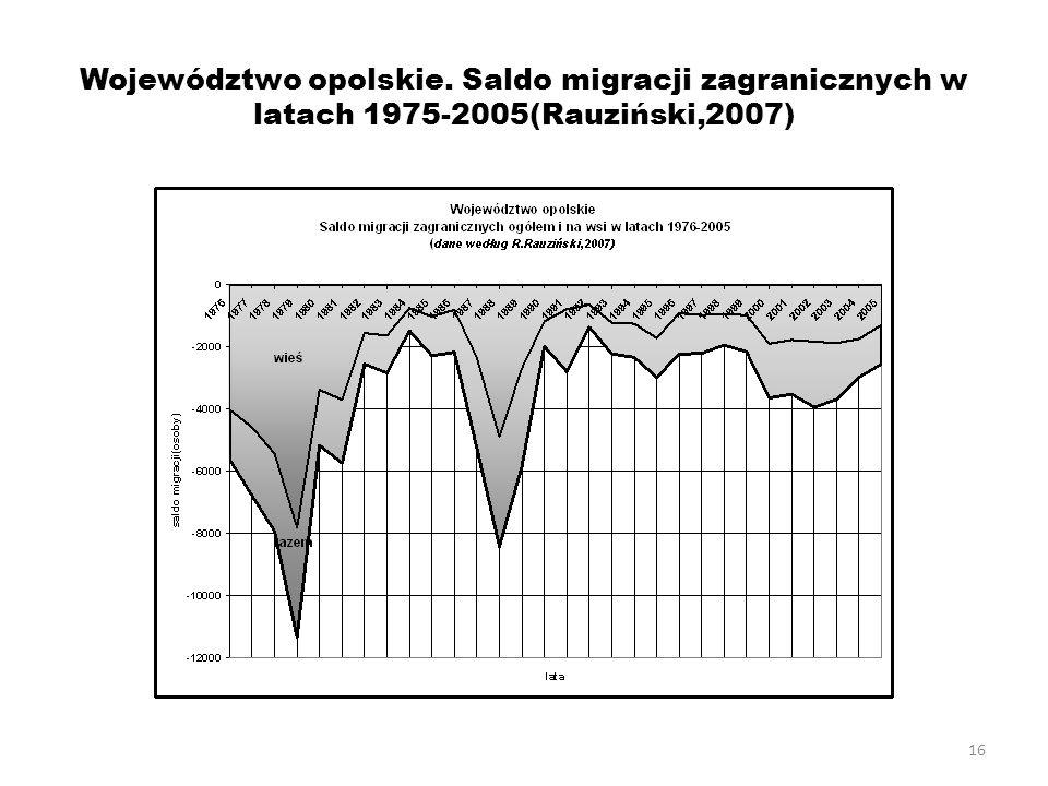 Województwo opolskie. Saldo migracji zagranicznych w latach 1975-2005(Rauziński,2007)