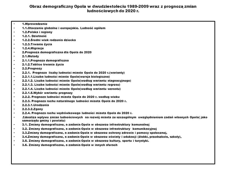 Obraz demograficzny Opola w dwudziestoleciu 1989-2009 wraz z prognozą zmian ludnościowych do 2020 r.