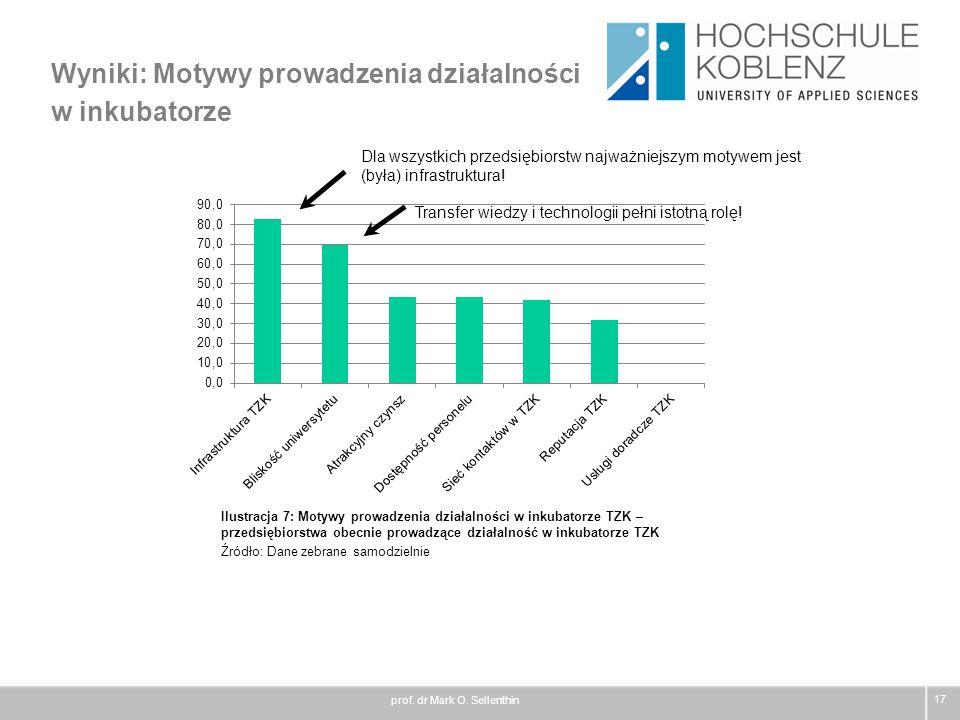 Wyniki: Motywy prowadzenia działalności w inkubatorze