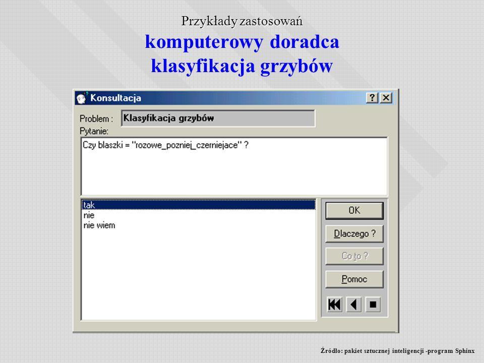 Przykłady zastosowań komputerowy doradca klasyfikacja grzybów