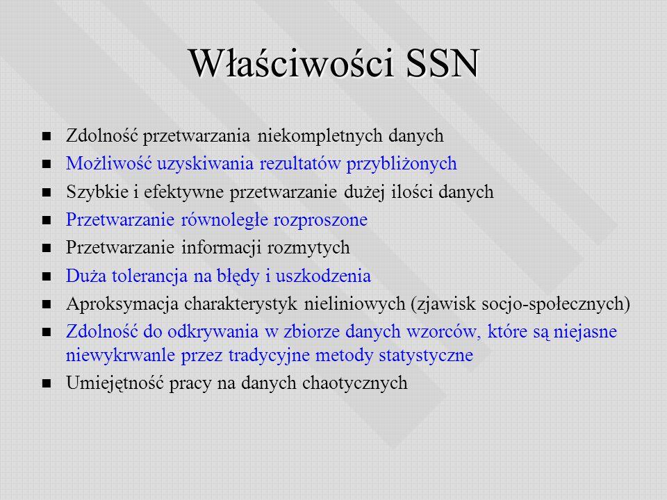 Właściwości SSN Zdolność przetwarzania niekompletnych danych