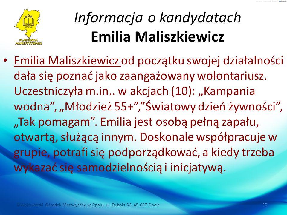 Informacja o kandydatach Emilia Maliszkiewicz