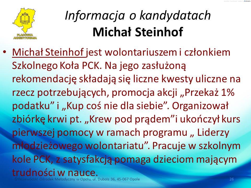 Informacja o kandydatach Michał Steinhof