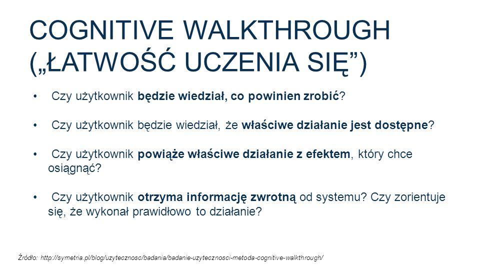 """Cognitive walkthrough (""""łatwość uczenia się )"""