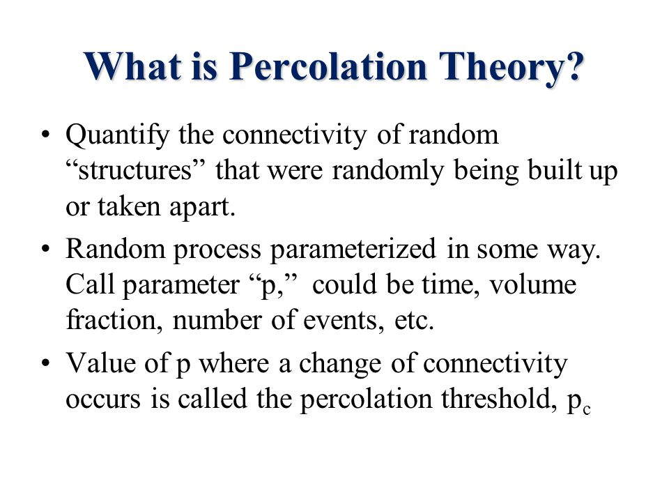 What is Percolation Theory