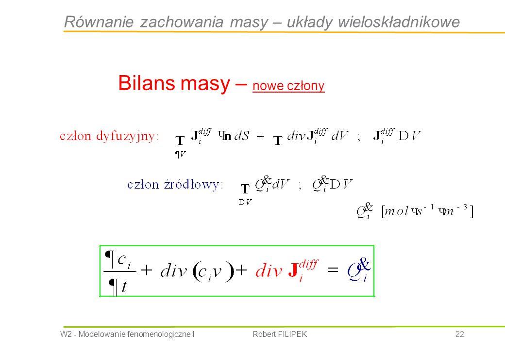 Równanie zachowania masy – układy wieloskładnikowe