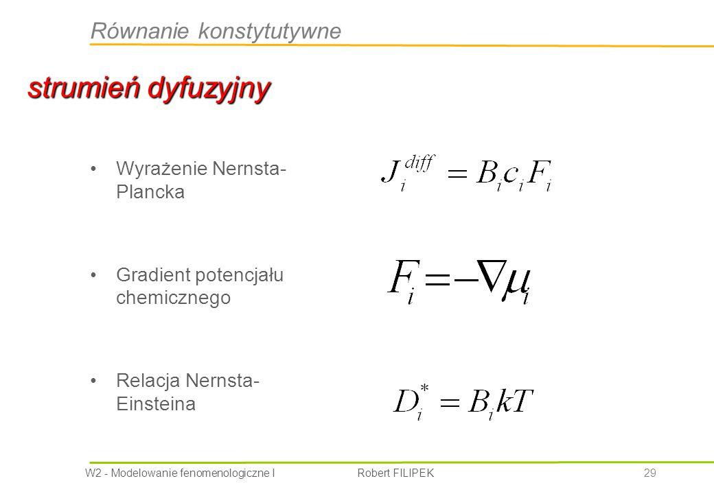 strumień dyfuzyjny Równanie konstytutywne Wyrażenie Nernsta- Plancka
