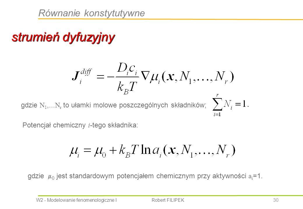 strumień dyfuzyjny Równanie konstytutywne