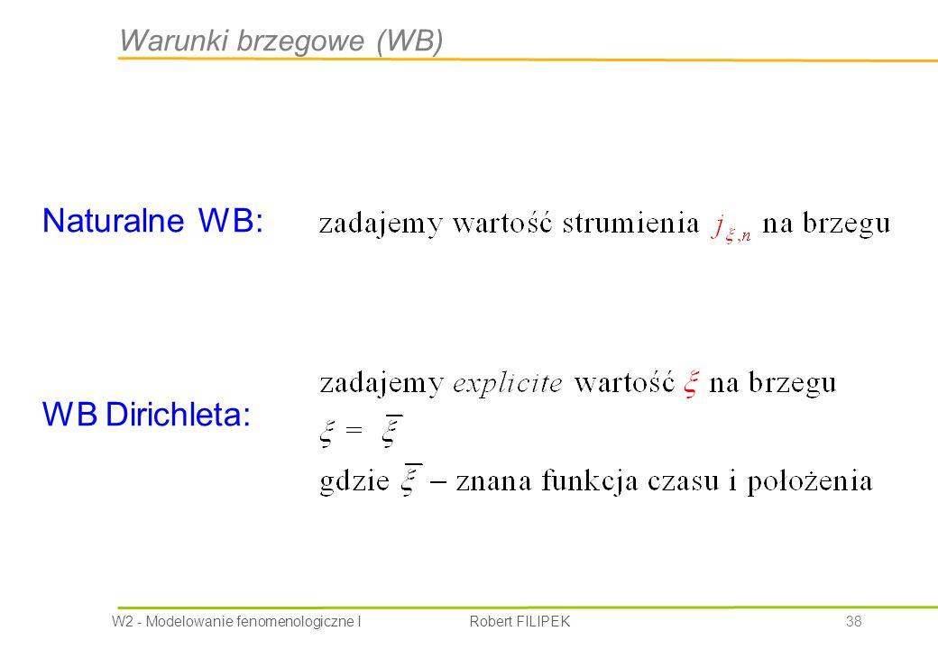 Warunki brzegowe (WB) Naturalne WB: WB Dirichleta: