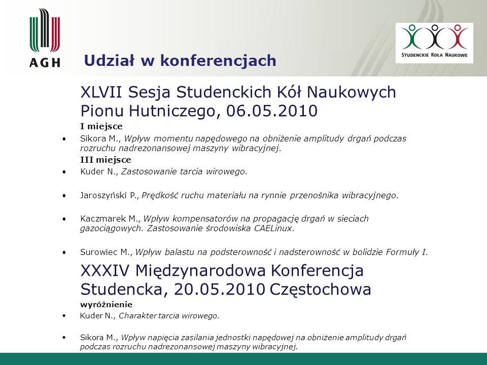 XLVII Sesja Studenckich Kół Naukowych Pionu Hutniczego, 06.05.2010
