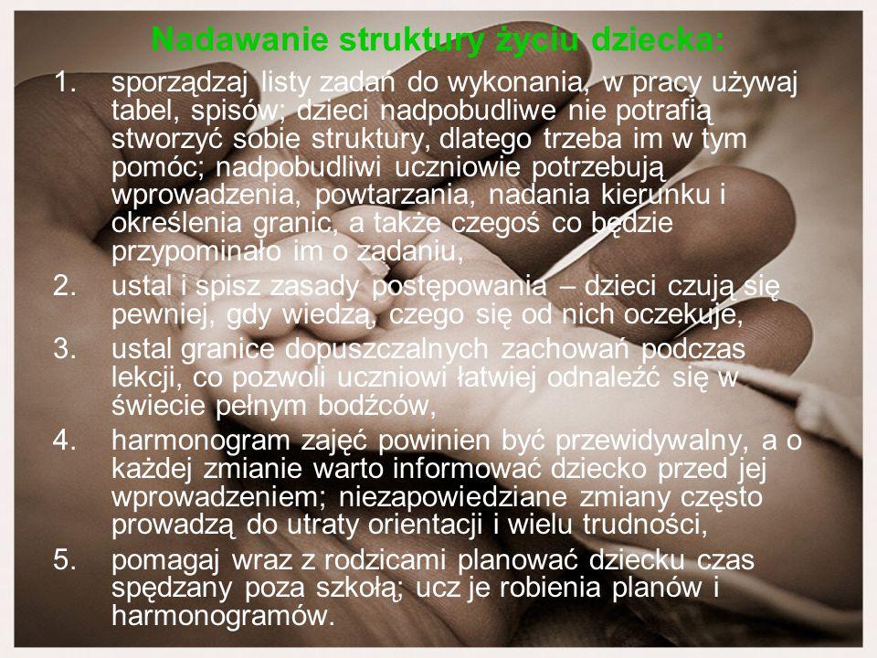 Nadawanie struktury życiu dziecka: