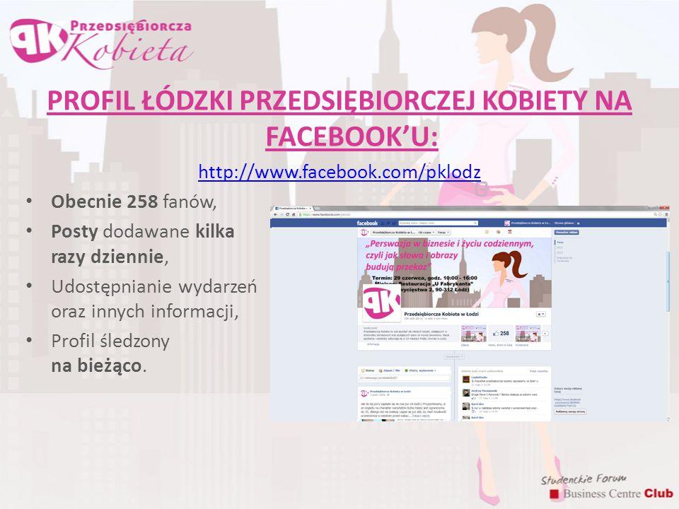 PROFIL ŁÓDZKI PRZEDSIĘBIORCZEJ KOBIETY NA FACEBOOK'U:
