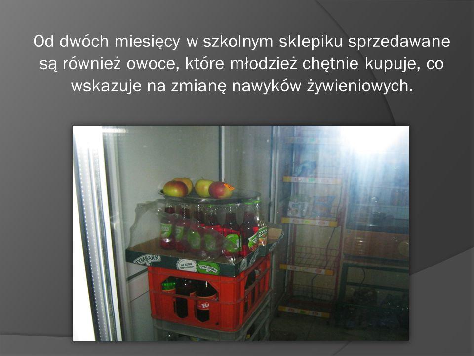 Od dwóch miesięcy w szkolnym sklepiku sprzedawane są również owoce, które młodzież chętnie kupuje, co wskazuje na zmianę nawyków żywieniowych.