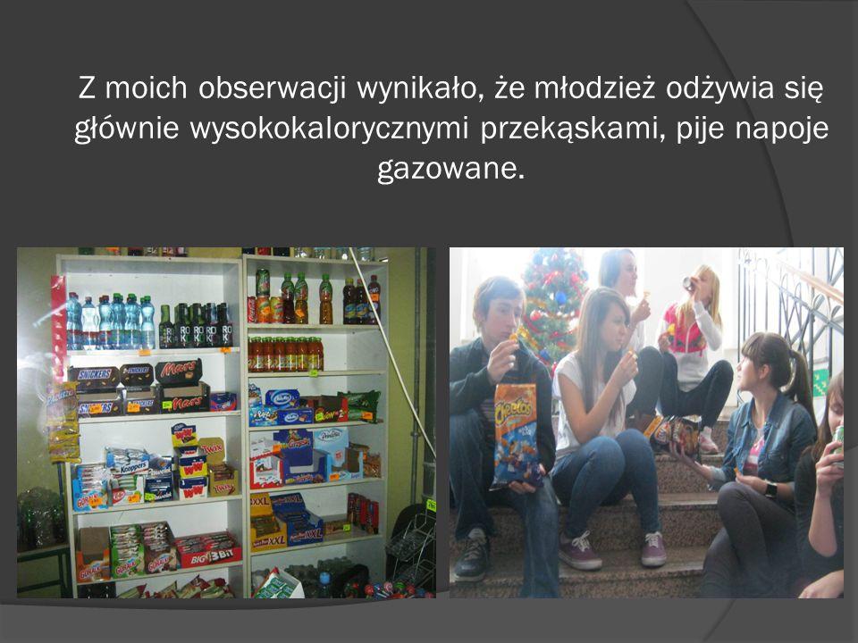Z moich obserwacji wynikało, że młodzież odżywia się głównie wysokokalorycznymi przekąskami, pije napoje gazowane.