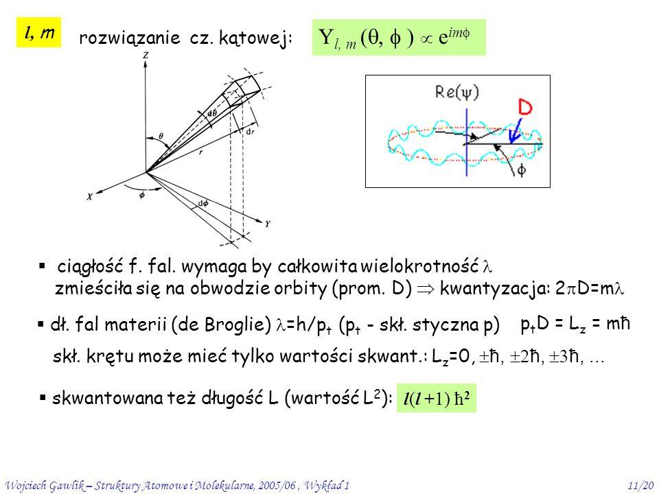 rozwiązanie cz. kątowej: Yl, m (,  )  eim