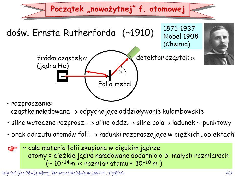 dośw. Ernsta Rutherforda (~1910)