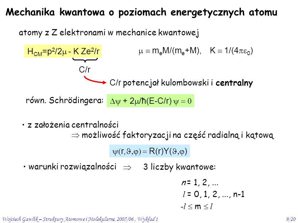 Mechanika kwantowa o poziomach energetycznych atomu
