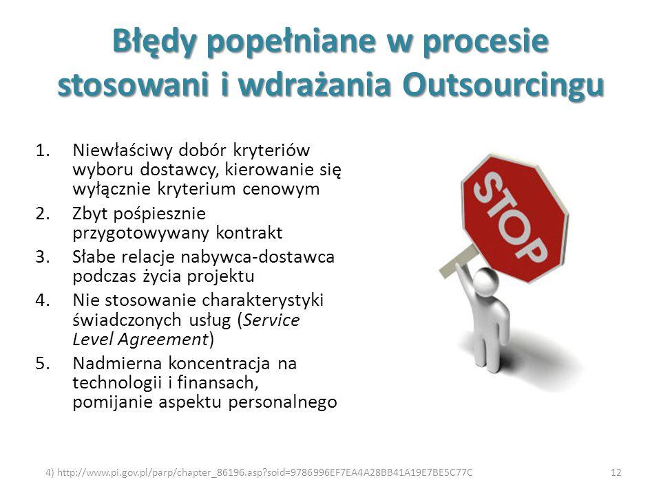 Błędy popełniane w procesie stosowani i wdrażania Outsourcingu