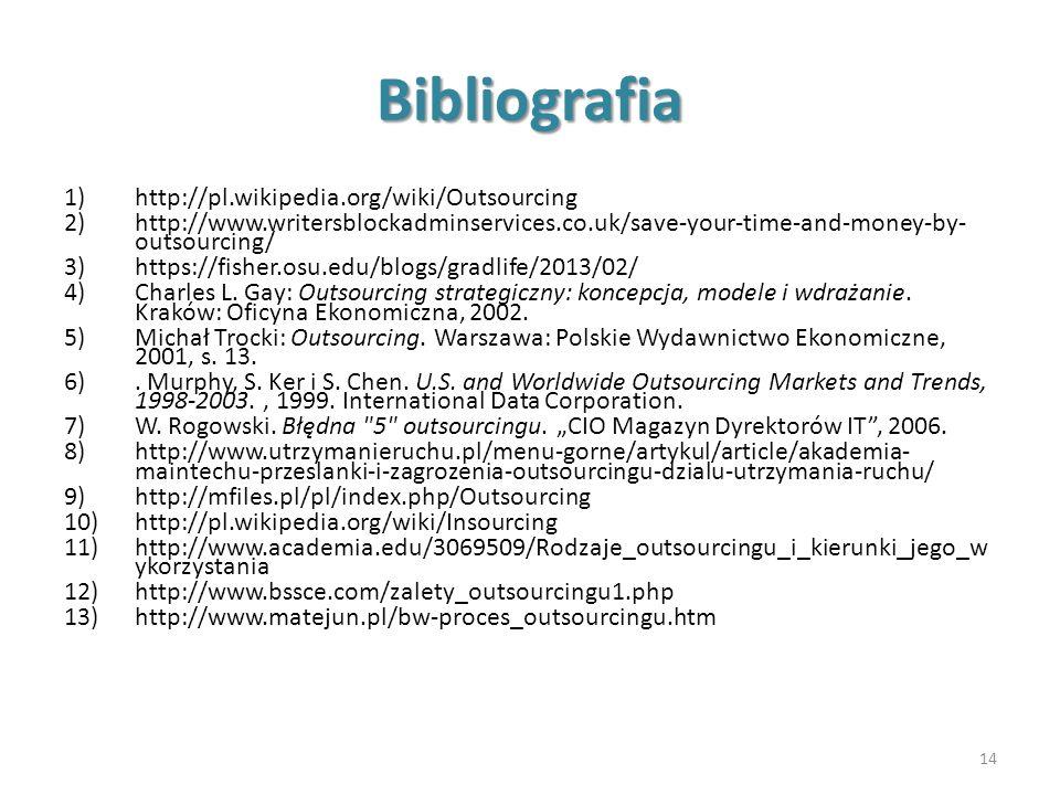 Bibliografia http://pl.wikipedia.org/wiki/Outsourcing