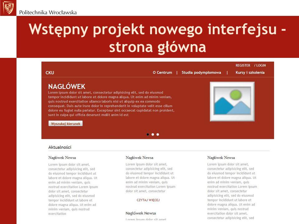 Wstępny projekt nowego interfejsu - strona główna