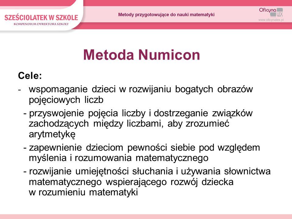 Metoda Numicon Cele: wspomaganie dzieci w rozwijaniu bogatych obrazów pojęciowych liczb.