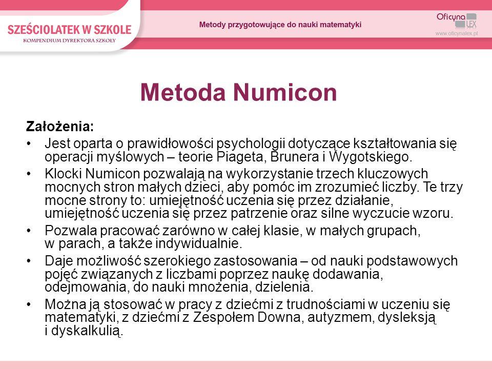 Metoda Numicon Założenia: