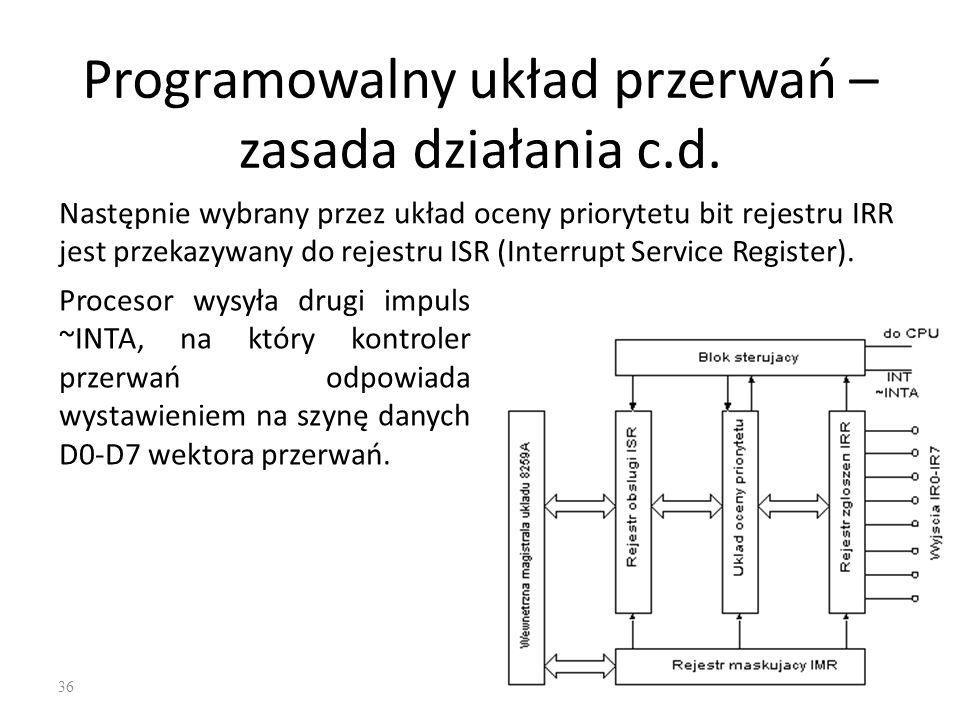 Programowalny układ przerwań – zasada działania c.d.