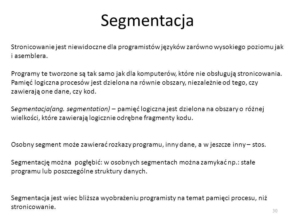 Segmentacja Stronicowanie jest niewidoczne dla programistów języków zarówno wysokiego poziomu jak i asemblera.