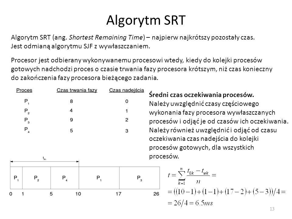 Algorytm SRT Algorytm SRT (ang. Shortest Remaining Time) – najpierw najkrótszy pozostały czas. Jest odmianą algorytmu SJF z wywłaszczaniem.
