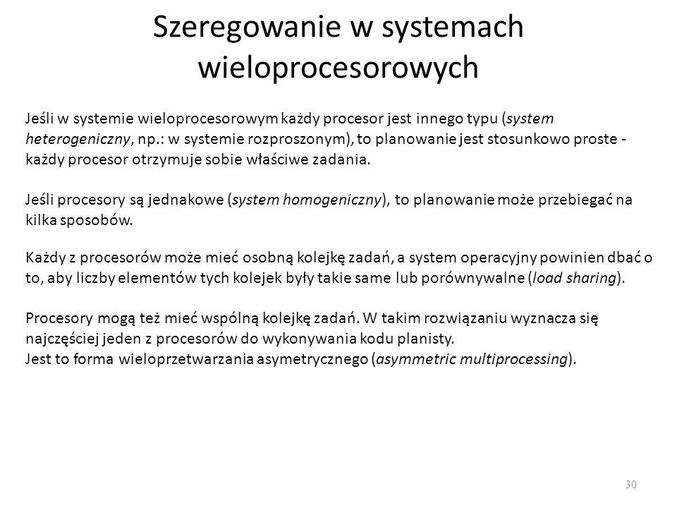 Szeregowanie w systemach wieloprocesorowych