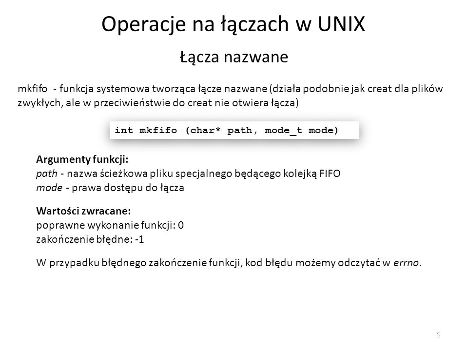 Operacje na łączach w UNIX