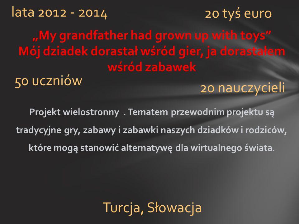 lata 2012 - 2014 20 tyś euro 50 uczniów 20 nauczycieli