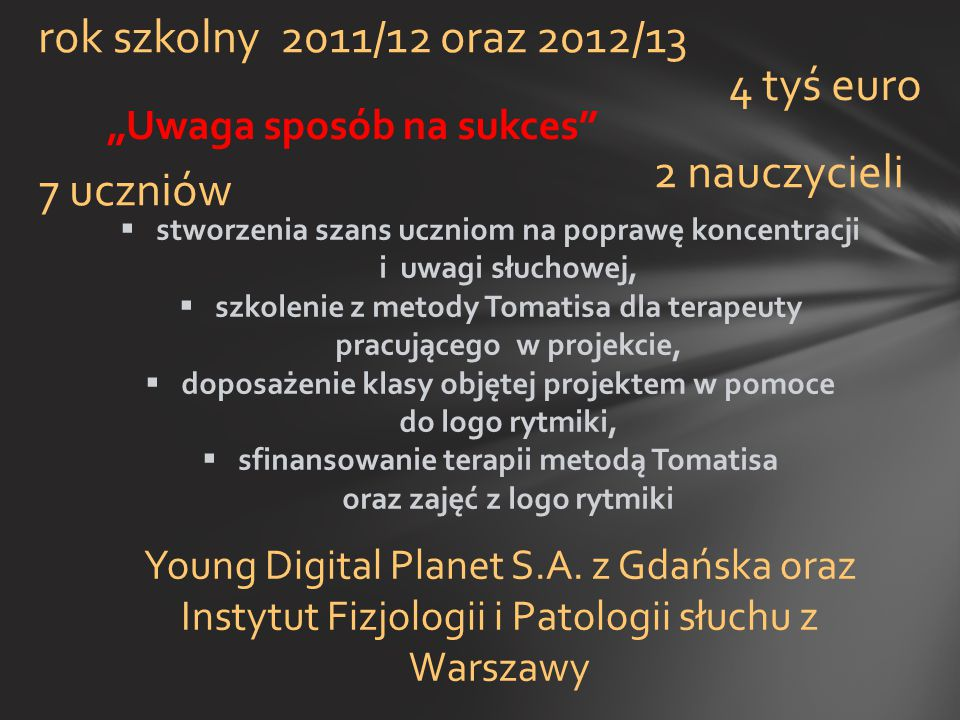 rok szkolny 2011/12 oraz 2012/13 4 tyś euro 2 nauczycieli 7 uczniów