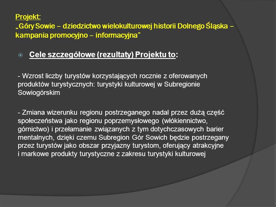 Cele szczegółowe (rezultaty) Projektu to: