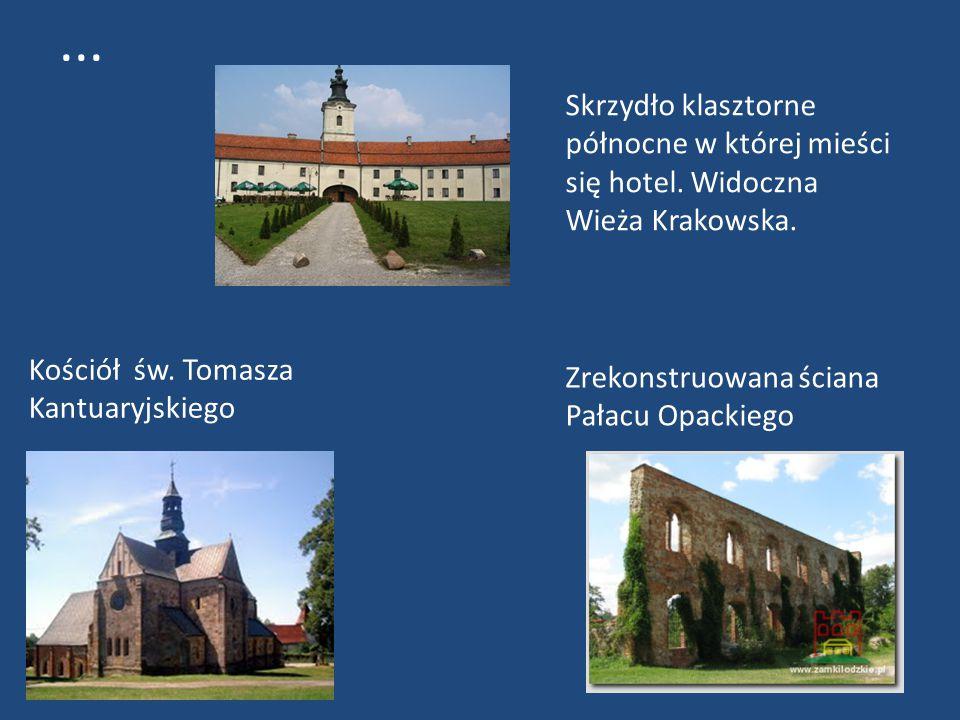 ... Skrzydło klasztorne północne w której mieści się hotel. Widoczna Wieża Krakowska. Kościół św. Tomasza Kantuaryjskiego.