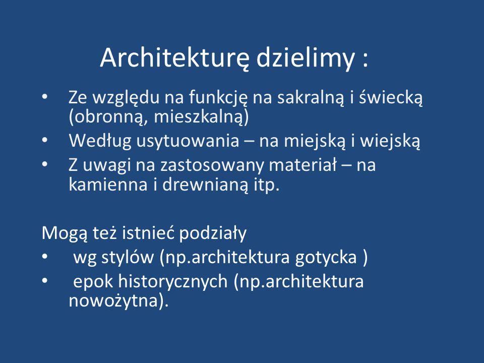 Architekturę dzielimy :