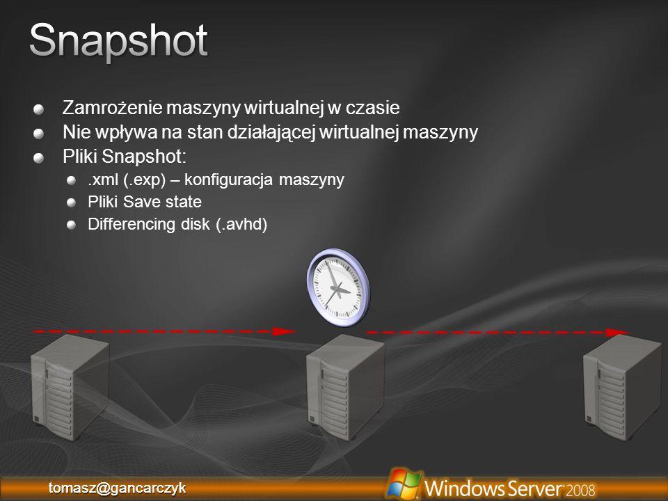 Snapshot Zamrożenie maszyny wirtualnej w czasie