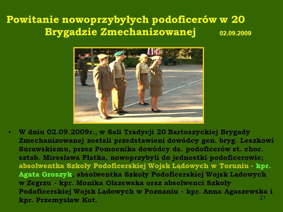 Powitanie nowoprzybyłych podoficerów w 20 Brygadzie Zmechanizowanej 02