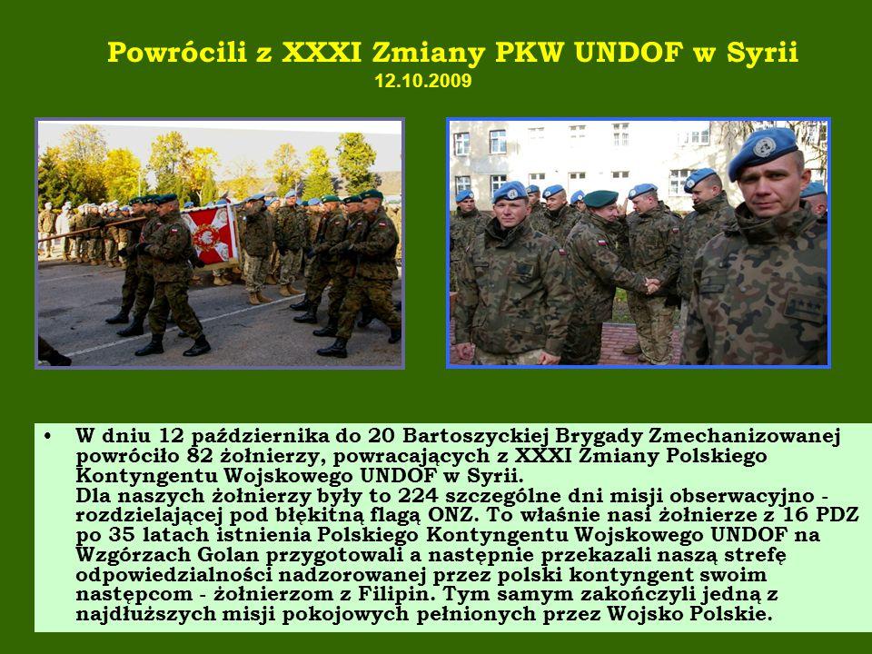 Powrócili z XXXI Zmiany PKW UNDOF w Syrii 12.10.2009